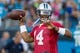 Jul 25, 2014; Charlotte, NC, USA; Carolina Panthers quarterback Joe Webb (14) throws a pass during training camp at Bank of America Stadium. Mandatory Credit: Jeremy Brevard-USA TODAY Sports