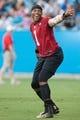 Jul 25, 2014; Charlotte, NC, USA; Carolina Panthers quarterback Cam Newton (1) reacts during training camp at Bank of America Stadium. Mandatory Credit: Jeremy Brevard-USA TODAY Sports