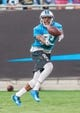 Jul 25, 2014; Charlotte, NC, USA; Carolina Panthers wide receiver Marcus Lucas (83) tries to catch a pass during training camp at Bank of America Stadium. Mandatory Credit: Jeremy Brevard-USA TODAY Sports