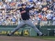 Jul 26, 2014; Kansas City, MO, USA; Cleveland Indians starting pitcher Zach McAllister (34) delivers a pitch against the Kansas City Royals in the first inning at Kauffman Stadium. Mandatory Credit: John Rieger-USA TODAY Sports
