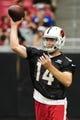 Jul 26, 2014; Tempe, AZ, USA; Arizona Cardinals quarterback Ryan Lindley (14) throws during training camp at University of Phoenix. Mandatory Credit: Matt Kartozian-USA TODAY Sports
