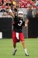 Jul 26, 2014; Tempe, AZ, USA; Arizona Cardinals quarterback Carson Palmer (3) throws during training camp at University of Phoenix. Mandatory Credit: Matt Kartozian-USA TODAY Sports