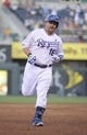 Jul 26, 2014; Kansas City, MO, USA; Kansas City Royals designated hitter Billy Butler (16) runs the bases after hitting a two run home run in the fifth inning against the Cleveland Indians at Kauffman Stadium. Mandatory Credit: John Rieger-USA TODAY Sports