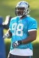 Jul 26, 2014; Spartanburg, SC, USA; Carolina Panthers defensive tackle Star Lotulelei (98) during training camp at Gibbs Stadium. Mandatory Credit: Jim Dedmon-USA TODAY Sports