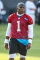 Jul 26, 2014; Spartanburg, SC, USA; Carolina Panthers quarterback Cam Newton (1) at workouts during training camp at Gibbs Stadium. Mandatory Credit: Jim Dedmon-USA TODAY Sports