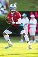 Jul 26, 2014; Spartanburg, SC, USA; Carolina Panthers quarterback Cam Newton (1) during training camp at Gibbs Stadium. Mandatory Credit: Jim Dedmon-USA TODAY Sports