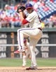 Jul 27, 2014; Philadelphia, PA, USA; Philadelphia Phillies relief pitcher Ken Giles (53) pitches during the eighth inning against the Arizona Diamondbacks at Citizens Bank Park. The Phillies won 4-2. Mandatory Credit: Bill Streicher-USA TODAY Sports