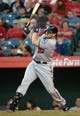 Jun 24, 2014; Anaheim, CA, USA; Minnesota Twins right fielder Chris Parmelee (27) bats during the game against the Los Angeles Angels at Angel Stadium of Anaheim. Mandatory Credit: Kirby Lee-USA TODAY Sports