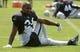 Jul 28, 2014; Napa, CA, USA; Oakland Raiders safety Charles Woodson (24) stretches at training camp at Napa Valley Marriott. Mandatory Credit: Kirby Lee-USA TODAY Sports