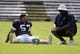Jul 28, 2014; Napa, CA, USA; Oakland Raiders defensive end LaMarr Woodley (57) and defensive line coach Terrell Williams at training camp at Napa Valley Marriott. Mandatory Credit: Kirby Lee-USA TODAY Sports