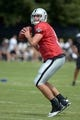 Jul 28, 2014; Napa, CA, USA; Oakland Raiders quarterback Matt Schaub (8) throws a pass at training camp at Napa Valley Marriott. Mandatory Credit: Kirby Lee-USA TODAY Sports