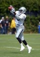 Jul 28, 2014; Napa, CA, USA; Oakland Raiders receiver Greg Jenkins (10) catches a pass at training camp at Napa Valley Marriott. Mandatory Credit: Kirby Lee-USA TODAY Sports