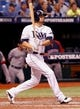 Oct 8, 2013; St. Petersburg, FL, USA; Tampa Bay Rays left fielder David DeJesus (7) hits a RBI single during the sixth inning against the Boston Red Sox of game four of the American League divisional series at Tropicana Field. Mandatory Credit: Kim Klement-USA TODAY Sports