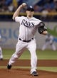 Jul 8, 2014; St. Petersburg, FL, USA; Tampa Bay Rays starting pitcher Jeremy Hellickson (58) throws a pitch during the first inning against the Kansas City Royals at Tropicana Field. Mandatory Credit: Kim Klement-USA TODAY Sports