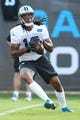 Jul 26, 2014; Spartanburg, SC, USA; Carolina Panthers wide receiver Kelvin Benjamin (13) makes a catch during training camp at Gibbs Stadium. Mandatory Credit: Jim Dedmon-USA TODAY Sports