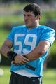 Jul 26, 2014; Spartanburg, SC, USA; Carolina Panthers middle linebacker Luke Kuechly (59) during training camp at Gibbs Stadium. Mandatory Credit: Jim Dedmon-USA TODAY Sports