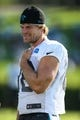 Jul 26, 2014; Spartanburg, SC, USA; Carolina Panthers tight end Greg Olsen (88) during training camp at Gibbs Stadium. Mandatory Credit: Jim Dedmon-USA TODAY Sports