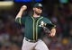 Jul 25, 2014; Arlington, TX, USA; Oakland Athletics relief pitcher Ryan Cook (48) pitches during the game against the Texas Rangers at Globe Life Park in Arlington. The Rangers defeated the Athletics 4-1. Mandatory Credit: Jerome Miron-USA TODAY Sports