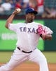 Jul 25, 2014; Arlington, TX, USA; Texas Rangers starting pitcher Jerome Williams (44) pitches during the game against the Oakland Athletics at Globe Life Park in Arlington. The Rangers defeated the Athletics 4-1. Mandatory Credit: Jerome Miron-USA TODAY Sports