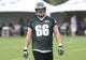 Jul 26, 2014; Philadelphia, PA, USA; Philadelphia Eagles tackle Andrew Gardner (66) walks off the field after training camp practice at the Novacare Complex in Philadelphia PA. Mandatory Credit: Bill Streicher-USA TODAY Sports