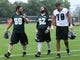 Jul 26, 2014; Philadelphia, PA, USA; Philadelphia Eagles guard Evan Mathis (69) and center Jason Kelce (62) and Philadelphia Eagles guard Donald Hawkins (78) walks off the field after practice at training camp at the Novacare Complex in Philadelphia PA. Mandatory Credit: Bill Streicher-USA TODAY Sports