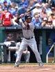 Jul 27, 2014; Kansas City, MO, USA; Cleveland Indians second basemen Jose Ramirez (11) at bat against the Kansas City Royals during the first inning at Kauffman Stadium. Mandatory Credit: Peter G. Aiken-USA TODAY Sports