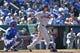 Jul 27, 2014; Kansas City, MO, USA; Cleveland Indians center fielder Michael Brantley (23) at bat against the Kansas City Royals during the ninth inning at Kauffman Stadium. Mandatory Credit: Peter G. Aiken-USA TODAY Sports
