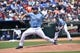 Jul 27, 2014; Kansas City, MO, USA; Kansas City Royals pitcher Bruce Chen (52) delivers a pitch against the Cleveland Indians during the first inning at Kauffman Stadium. Mandatory Credit: Peter G. Aiken-USA TODAY Sports