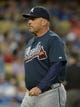Jul 30, 2014; Los Angeles, CA, USA; Atlanta Braves manager Fredi Gonzalez during the game against the Los Angeles Dodgers at Dodger Stadium. Mandatory Credit: Kirby Lee-USA TODAY Sports