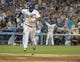 Jul 30, 2014; Los Angeles, CA, USA; Los Angeles Dodgers right fielder Matt Kemp (27) celebrates after scoring in the eighth inning against the Atlanta Braves at Dodger Stadium. The Dodgers defeated the Braves 2-1 in 10 innings. Mandatory Credit: Kirby Lee-USA TODAY Sports