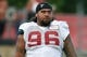 Aug 1, 2014; Lawrenceville, GA, USA; Atlanta Falcons defensive tackle Paul Soliai (96) on the field during practice during Falcons Friday Night Lights at Archer High School. Mandatory Credit: Dale Zanine-USA TODAY Sports