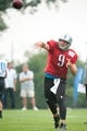 Aug 2, 2014; Detroit, MI, USA; Detroit Lions quarterback Matthew Stafford (9) during training camp at the Lions training facility. Mandatory Credit: Tim Fuller-USA TODAY Sports
