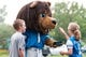 Aug 2, 2014; Detroit, MI, USA; Detroit Lions mascot Roary high fives fans during training camp at the Lions training facility. Mandatory Credit: Tim Fuller-USA TODAY Sports