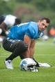 Aug 2, 2014; Detroit, MI, USA; Detroit Lions tight end Joseph Fauria (80) during training camp at the Lions training facility. Mandatory Credit: Tim Fuller-USA TODAY Sports