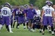 Jul 25, 2014; Mankato, MN, USA; Minnesota Vikings head coach Mike Zimmer instructs a player in drills at training camp at Minnesota State University. Mandatory Credit: Bruce Kluckhohn-USA TODAY Sports
