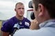 Jul 25, 2014; Mankato, MN, USA; Minnesota Vikings tight end Kyle Rudolph (82) speaks with the media after training camp practice at Minnesota State University. Mandatory Credit: Bruce Kluckhohn-USA TODAY Sports