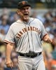 Aug 5, 2014; Milwaukee, WI, USA; San Francisco Giants manager Bruce Bochy asks umpires to review a play in the third inning against the Milwaukee Brewers at Miller Park. Mandatory Credit: Benny Sieu-USA TODAY Sports