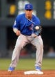 Aug 6, 2014; Denver, CO, USA; Chicago Cubs second baseman Javier Baez (9) prepares to turn a double play in the second inning against the Colorado Rockies at Coors Field. Mandatory Credit: Ron Chenoy-USA TODAY Sports