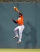 Aug 7, 2014; Pittsburgh, PA, USA; Miami Marlins center fielder Marcell Ozuna (13) makes a catch at the wall on a ball hit by Pittsburgh Pirates left fielder Starling Marte (not pictured) during the fifth inning at PNC Park. Mandatory Credit: Charles LeClaire-USA TODAY Sports
