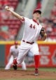 Aug 8, 2014; Cincinnati, OH, USA; Cincinnati Reds starting pitcher Mike Leake (44) pitches during the first inning against the Miami Marlins at Great American Ball Park. Mandatory Credit: Frank Victores-USA TODAY Sports