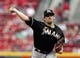 Aug 8, 2014; Cincinnati, OH, USA; Miami Marlins starting pitcher Nathan Eovaldi (24) throws during the first inning against the Cincinnati Reds at Great American Ball Park. Mandatory Credit: Frank Victores-USA TODAY Sports