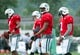 Aug 4, 2014; Cortland, NY, USA; New York Jets quarterback Tajh Boyd (center) looks on during training camp at SUNY Cortland. Mandatory Credit: Rich Barnes-USA TODAY Sports
