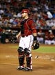 Aug 6, 2014; Phoenix, AZ, USA; Arizona Diamondbacks catcher Miguel Montero against the Kansas City Royals at Chase Field. Mandatory Credit: Mark J. Rebilas-USA TODAY Sports