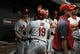 Aug 9, 2014; Baltimore, MD, USA; St. Louis Cardinals center fielder Jon Jay (19) is congratulated by teammates after hitting a solo home run in the second inning against the Baltimore Orioles at Oriole Park at Camden Yards. Mandatory Credit: Joy R. Absalon-USA TODAY Sports