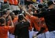 Aug 9, 2014; Baltimore, MD, USA; Baltimore Orioles left fielder Delmon Young (second from left) is congratulated by teammates after hitting a two-run home run in the fifth inning against the St. Louis Cardinals at Oriole Park at Camden Yards. The Orioles defeated the Cardinals 10-3. Mandatory Credit: Joy R. Absalon-USA TODAY Sports