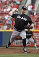 Aug 9, 2014; Cincinnati, OH, USA; Miami Marlins starting pitcher Brad Pennyin throws a pitch against the Cincinnati Reds in the first inning at Great American Ball Park. Mandatory Credit: David Kohl-USA TODAY Sports