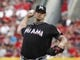Aug 9, 2014; Cincinnati, OH, USA; Miami Marlins starting pitcher Brad Penny throws a pitch against the Cincinnati Reds during the first inning at Great American Ball Park. Mandatory Credit: David Kohl-USA TODAY Sports