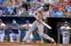 Aug 9, 2014; Kansas City, MO, USA; San Francisco Giants center fielder Angel Pagan (16) at bat in the first inning against the Kansas City Royals at Kauffman Stadium. The Royals won 5-0. Mandatory Credit: Denny Medley-USA TODAY Sports