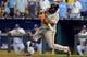 Aug 9, 2014; Kansas City, MO, USA; San Francisco Giants third baseman Pablo Sandoval (48) at bat in the ninth inning against the Kansas City Royals at Kauffman Stadium. The Royals won 5-0. Mandatory Credit: Denny Medley-USA TODAY Sports