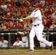 Aug 9, 2014; Cincinnati, OH, USA; Cincinnati Reds right fielder Jay Bruce (32) strikes out in the ninth inning ending the game with the Miami Marlins at Great American Ball Park. The Marlins won 4-3. Mandatory Credit: David Kohl-USA TODAY Sports